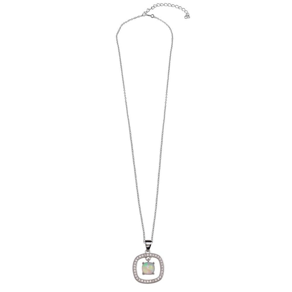Sterling Silver Square Opal Drop Necklace