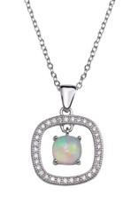 Qualita In Argento Italian Sterling Silver Square Opal Drop Necklace
