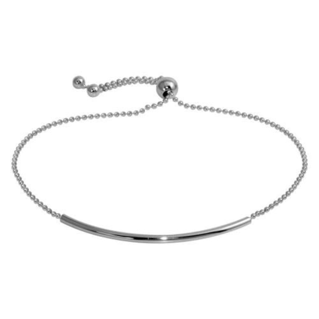 Sterling Silver Rhodium Plated Tube Bead Bracelet