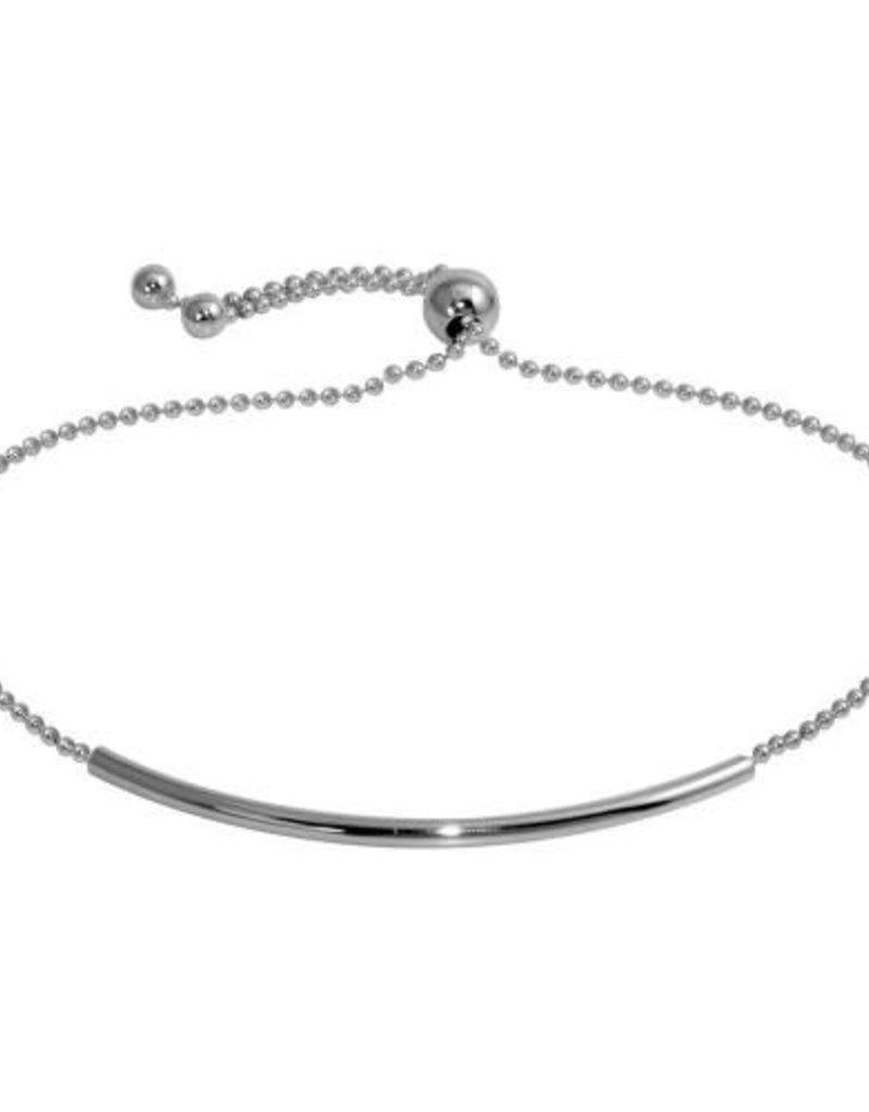 Qualita In Argento Italian Sterling Silver Rhodium Plated Tube Bead Bracelet