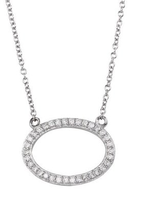 Qualita In Argento Italian Sterling Silver Rhodium Plated Halo CZ Necklace
