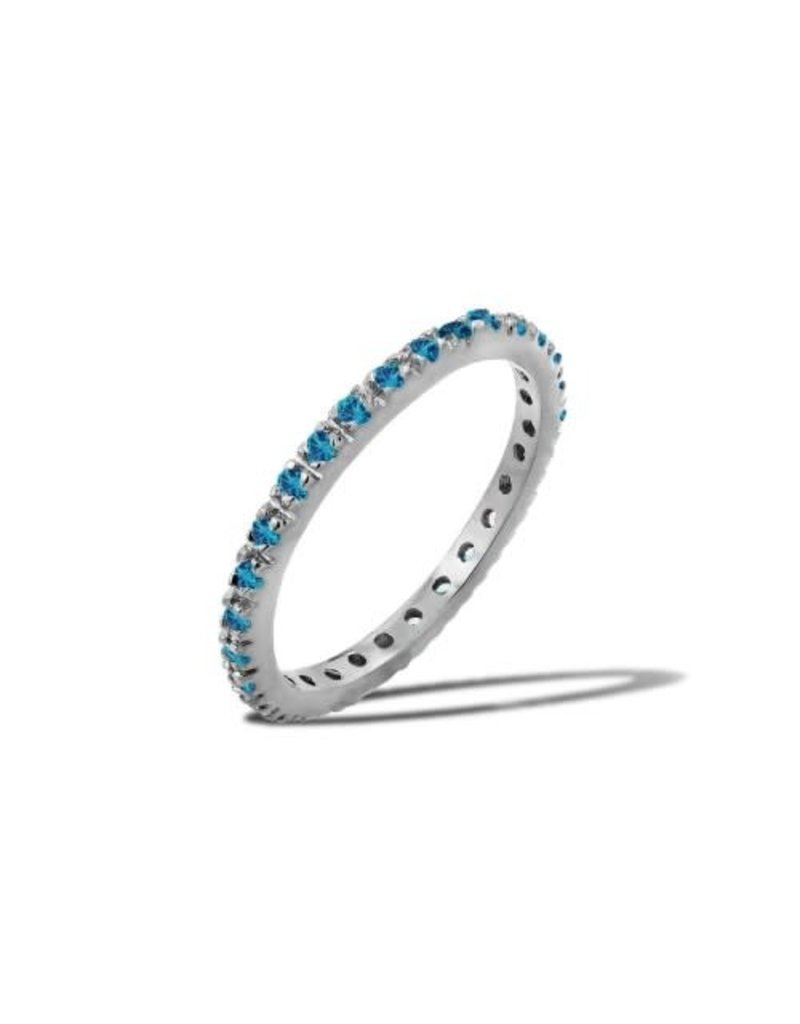 Sterling Silver Aquamarine CZ Band
