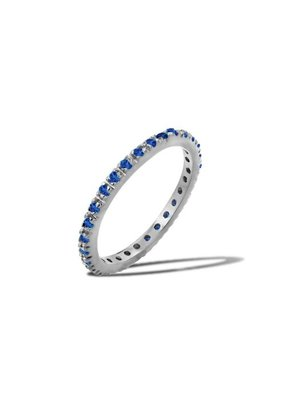 Sterling Silver Sapphire CZ Band