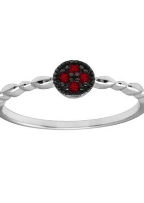 Qualita In Argento Italian Sterling Red CZ Circle w Design Band Ring