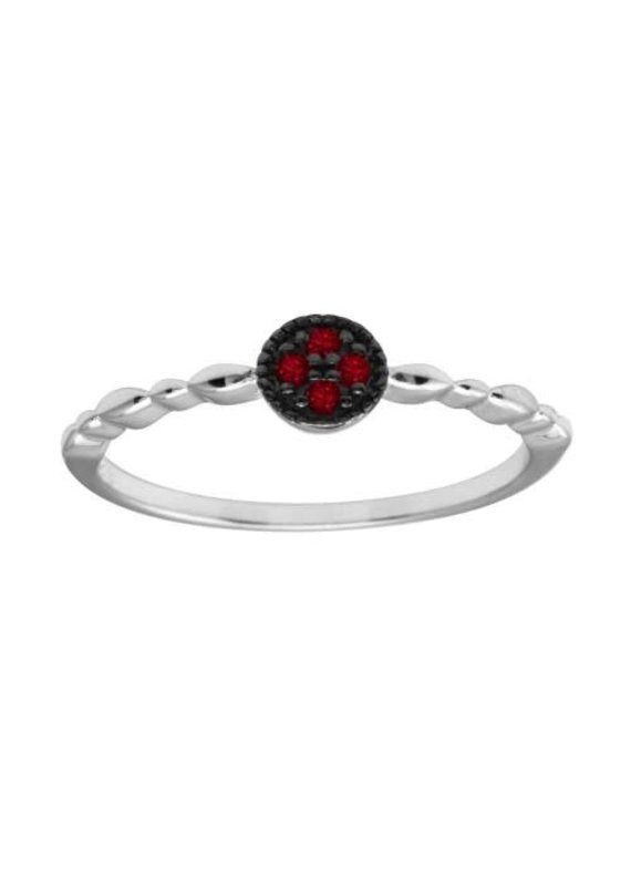 Sterling Red CZ Circle w Design Band Ring