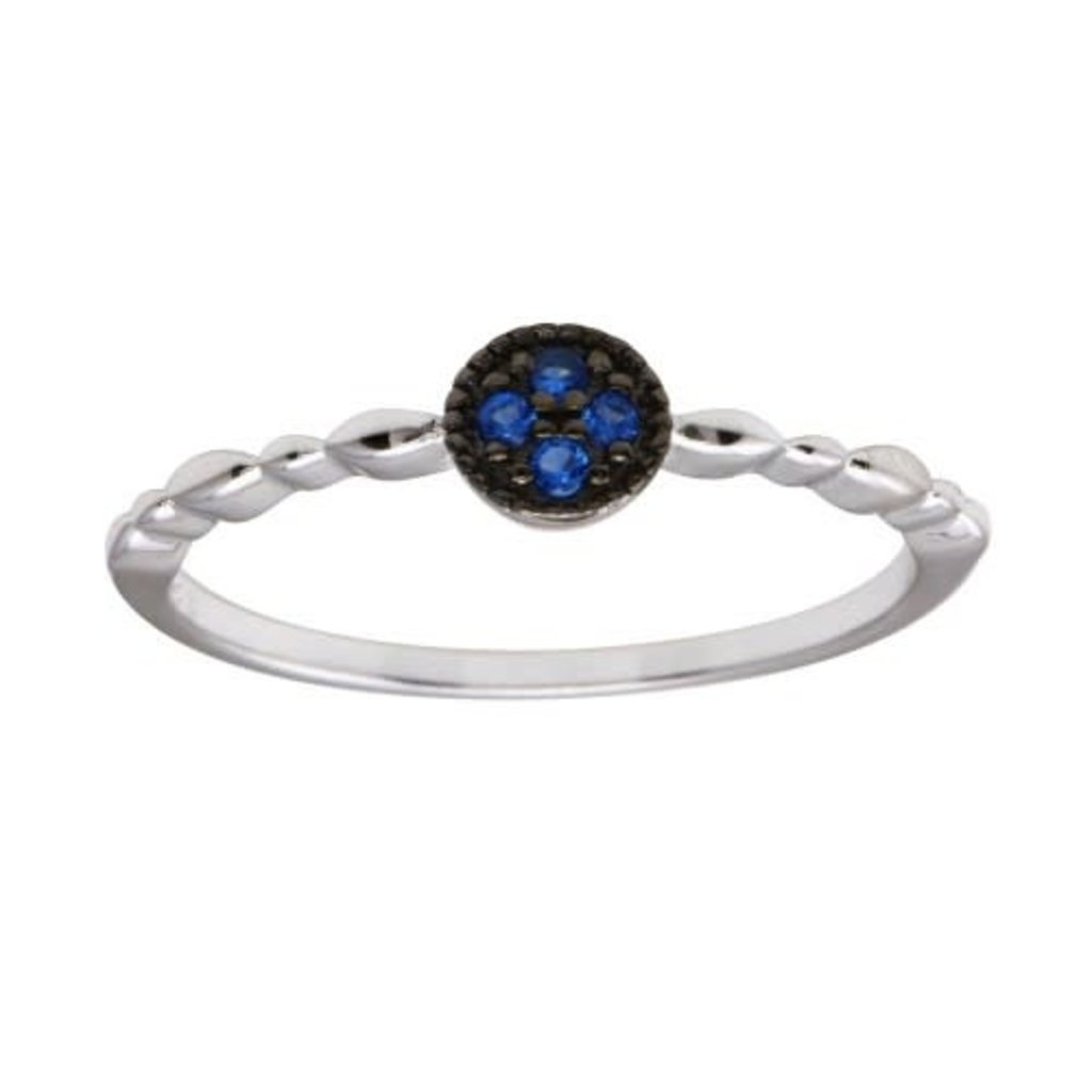 Sterling Blue CZ Circle w Design Band Ring