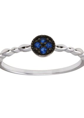 Qualita In Argento Italian Sterling Blue CZ Circle w Design Band Ring