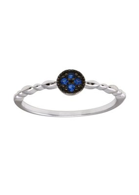 Sterling Blue CZ Circle Ring