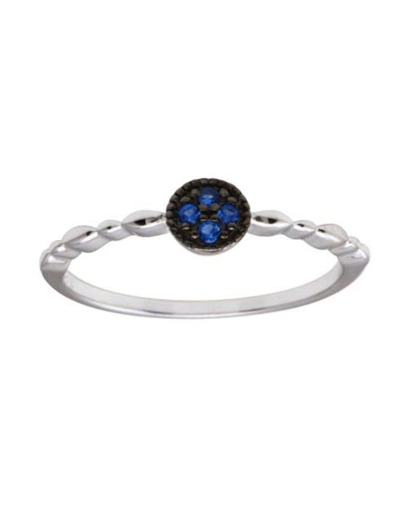 Sterling Blue CZ Circle Ring
