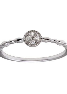 Qualita In Argento Italian Sterling Clear CZ Circle w Design Band Ring