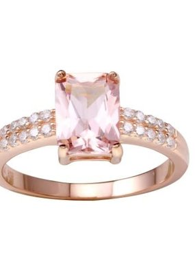 Qualita In Argento Italian Sterling Rose Gold Plated Pink Rectangle CZ Ring
