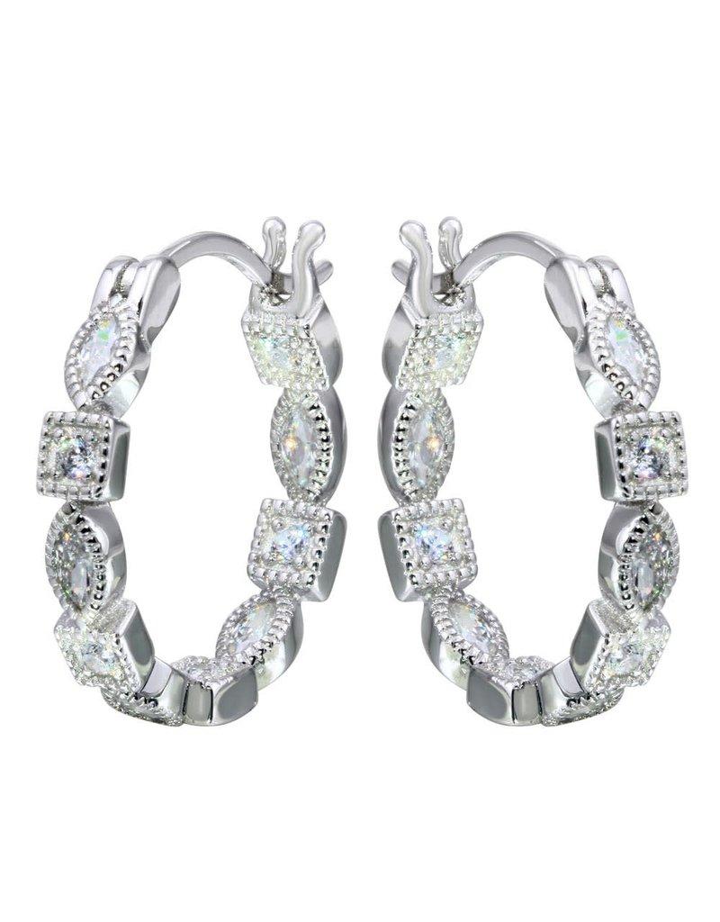 Sterling Silver Inner Outer CZ Hoop Earrings