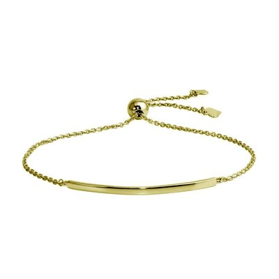 Sterling Silver Gold Plated Curved Bar Lariat Bracelet