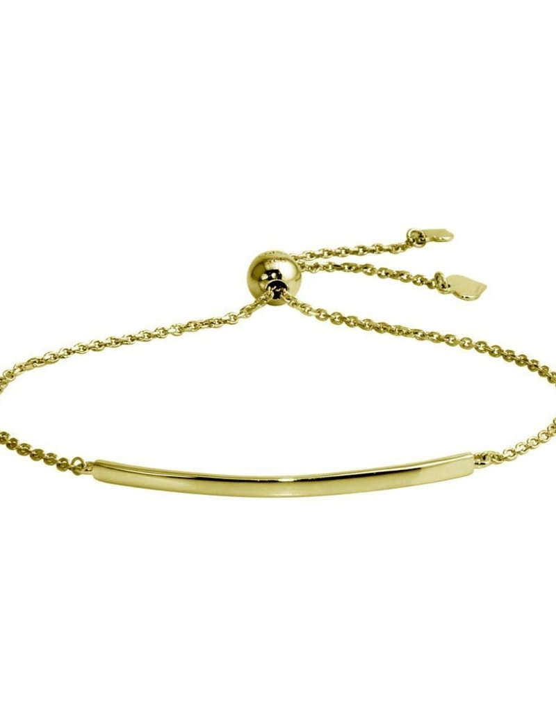 Qualita In Argento Italian Sterling Silver Gold Plated Curved Bar Lariat Bracelet