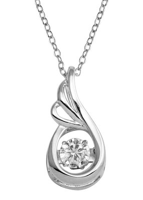 Qualita In Argento Italian Sterling CZ Dancing Diamond Necklace