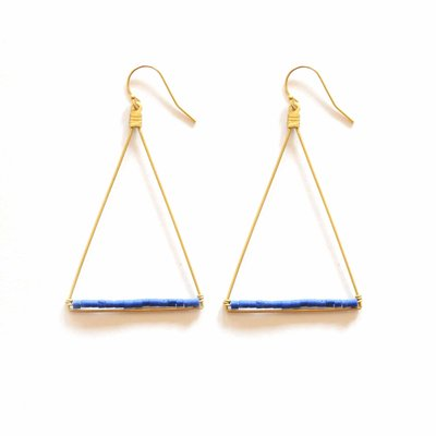 Didi Jewerly Project Triangle Lapis Howalite w Brass Beads Earrings