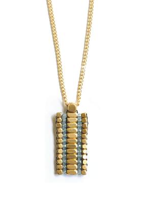 Didi Rectangle Apatite w Brass Beads Necklace