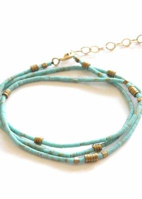 Didi Turquoise Beaded Wrap Bracelet