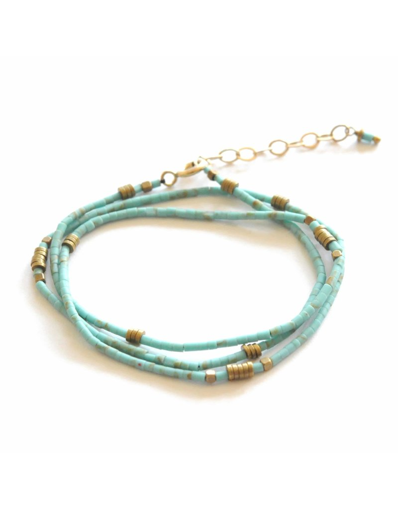 Didi Jewerly Project Turquoise Beaded Wrap Bracelet/Necklace