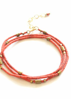 Didi Coral Beaded Wrap Bracelet