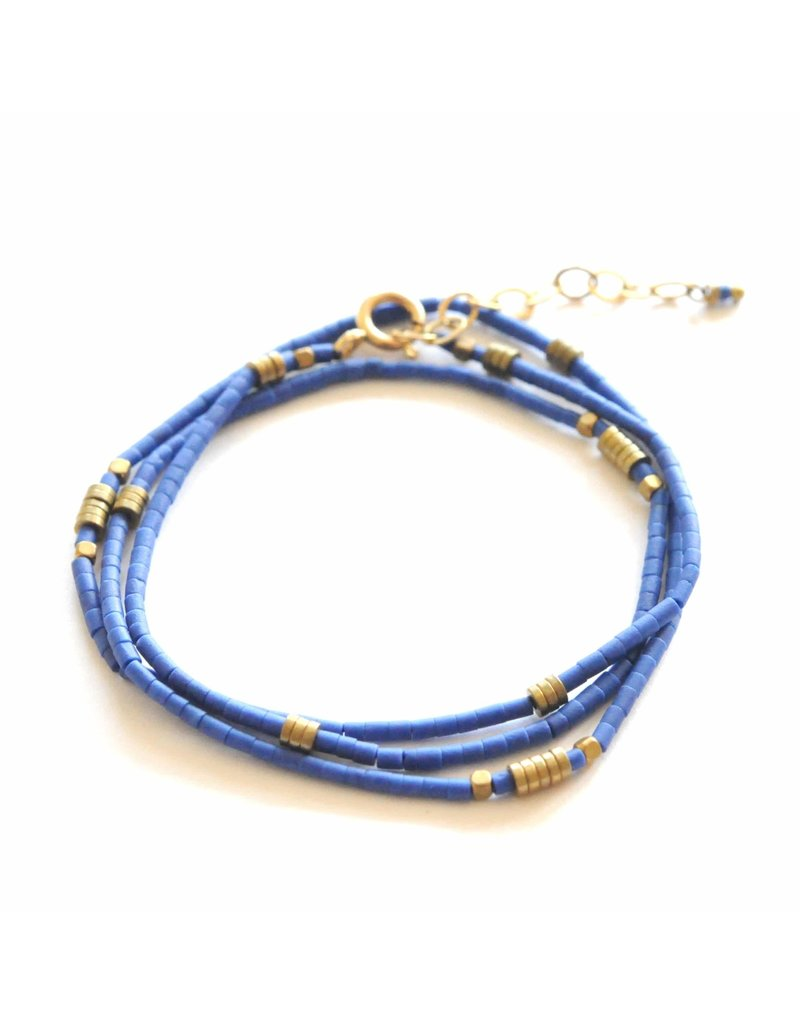 Didi Jewerly Project Lapis Beaded Wrap Bracelet/Necklace