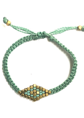 Didi Turquoise Striped Diamond Adjustable Bracelet