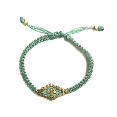 Didi Jewelry Project Turquoise Striped Diamond Adjustable Bracelet