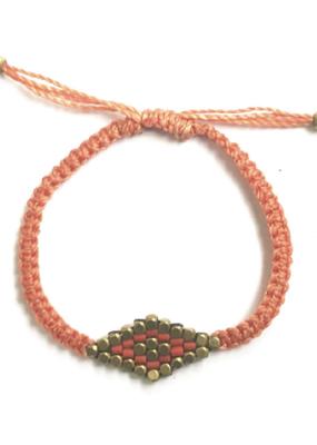 Didi Coral Striped Diamond Adjustable Bracelet