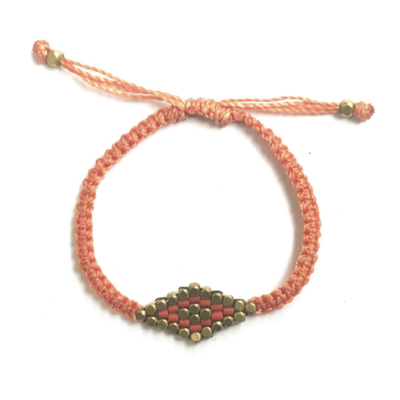 Didi Jewelry Project Coral Striped Diamond Adjustable Bracelet