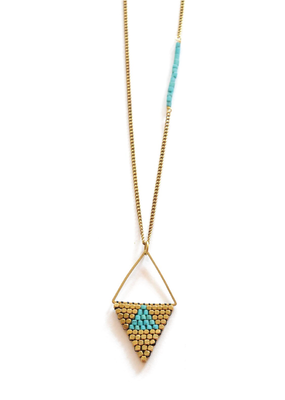 Didi Rhombus Turquoise Howalite w Brass Beads Necklace