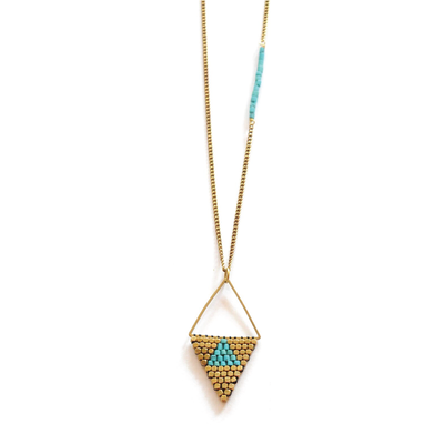 Didi Jewelry Project Rhombus Turquoise Howalite w Brass Beads Necklace