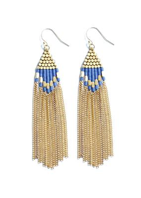 Didi Diamond Drop Lapis Howalite w Brass Beads and Chain Earrings