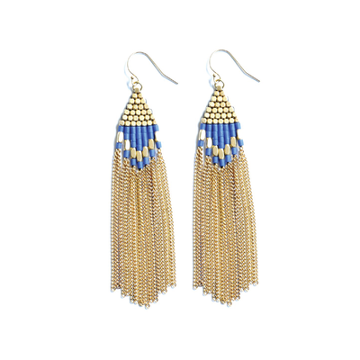 Didi Jewelry Project Diamond Drop Lapis Howalite w Brass Beads and Chain Earrings