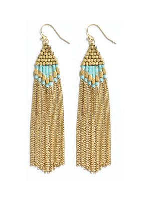 Didi Diamond Drop Turquoise Howalite w Brass Beads and Chain Earrings