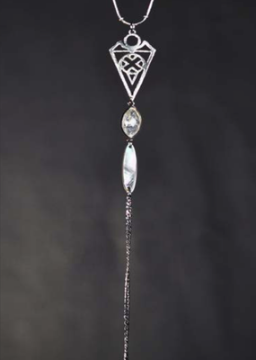 KBD Studio Intricate Arrow w Golden Rutile & Mother of Pearl Necklace