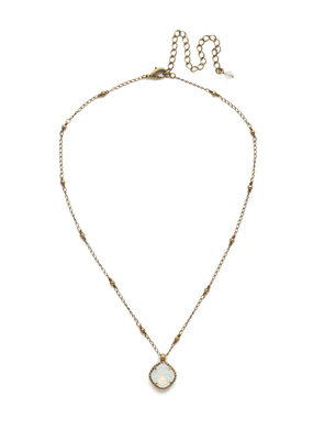 Sorrelli Cushion-Cut Solitaire Necklace in White Opal