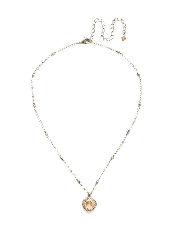 Sorrelli Cushion-Cut Solitaire Necklace in Dark Champagne