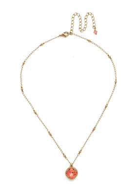 Sorrelli Cushion-Cut Solitaire Necklace in Coral