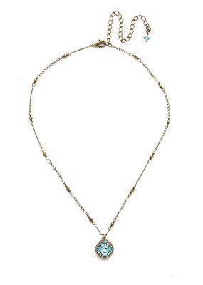 Sorrelli Cushion-Cut Solitaire Necklace in Aquamarine