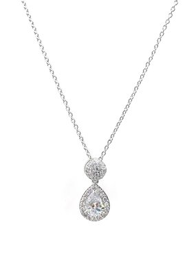 Silver Teardrop AAA CZ w Halo & Ball Accent Necklace
