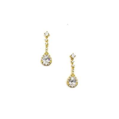 AAA CZ Halo Teardrop Earrings in Gold