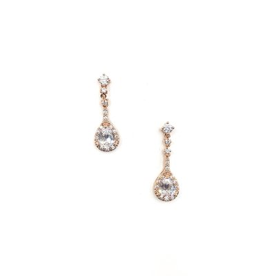 AAA CZ Halo Teardrop Earrings in Rose Gold