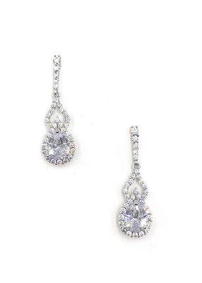 DS Bridal Silver Teardrop AAA CZ w Halo & Open Accent Earrings