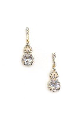 DS Bridal Gold Teardrop AAA CZ w Halo & Open Accent Earrings