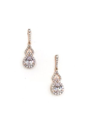 DS Bridal Rose Gold AAA CZ w Halo & Open Accent Earrings