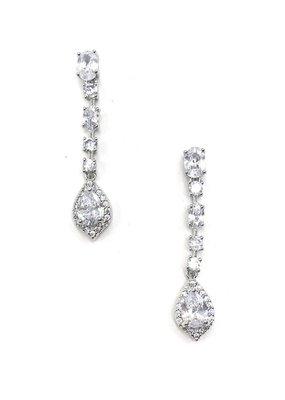 DS Bridal Silver CZ Halo Teardrop Earrings