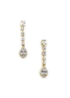 DS Bridal Gold CZ Halo Teardrop Earrings
