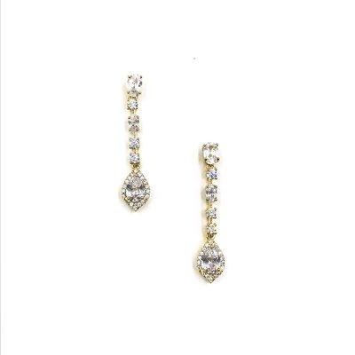 Gold CZ Halo Teardrop Earrings