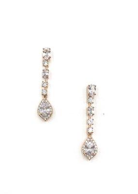 DS Bridal Rose Gold CZ Halo Teardrop Earrings