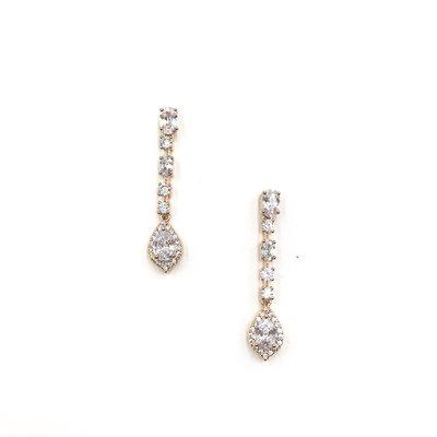 Rose Gold CZ Halo Teardrop Earrings